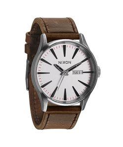 Nixon | Часы Sentry Leather Silver/Brown