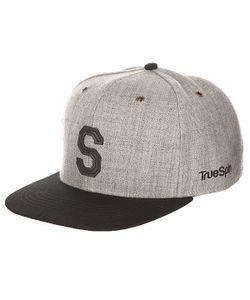 Truespin | Бейсболка С Прямым Козырьком Abc Snapback Dark Grey/Black Leather-S