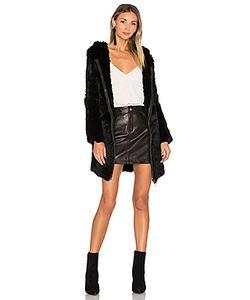 Adrienne Landau | Knit Rabbit Fur Long Hoodie
