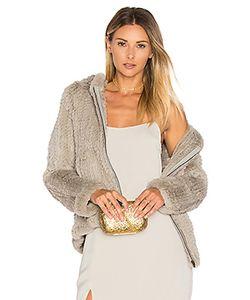 Adrienne Landau | Knit Rabbit Fur Hoodie