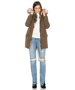 JOCELYN | Full Wash Cargo Fox Trim Coat