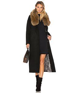 Soia & Kyo | Пальто С Отделкой Мехом Азиатского Енота Chanelle