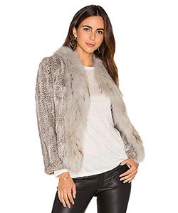 Arielle | Frill Collar Jacket With Fox And Rabbit Fur