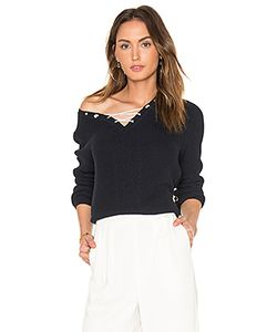525 America | Cotton Shaker Faux Lace Up Sweater
