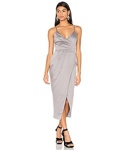 Lavish Alice | Satin Wrap Midi Dress