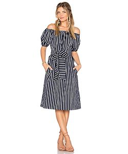 J.O.A. | Stripe Off The Shoulder Dress J.O.A.