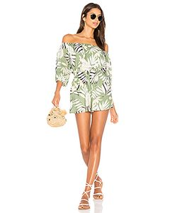 Minkpink | Shady Fronds Off Shoulder Playsuit