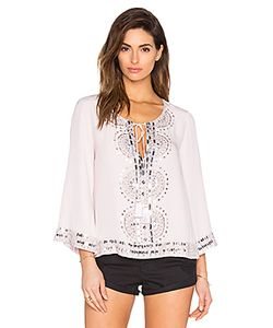 Tessora | Embellished Tie Neck Blouse In Nude