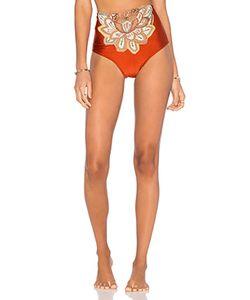 AGUADECOCO | Embroidered High Waist Bikini Bottom