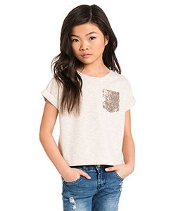 7 For All Mankind Kids | Девичья Футболка С Карманом Boxy Top