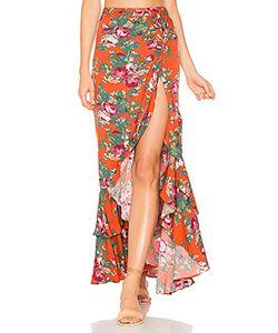 AUGUSTE   Stevie Frill Wrap Maxi Skirt