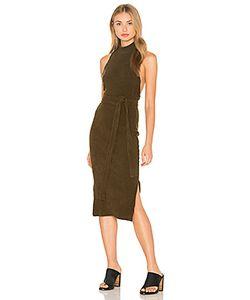 Lavish Alice | Rib Knit Open Back Wrap Tie Midi Dress