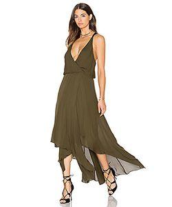 Haute Hippie | Chiffon Godets Leather Wrap Dress