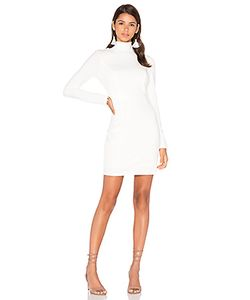 Bobi | Black Knit Boucle Long Sleeve Turtleneck Bodycon Dress