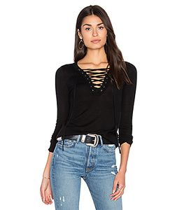 ROI | Lace Up Long Sleeve Sweater