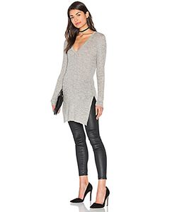 AYNI | Sanka Side Slit V Neck Sweater