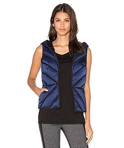 BLANC NOIR | Mesh Inset Satin Puffer Vest