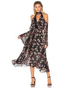 Nicholas | Floral Chain Neck Wrap Front Dress