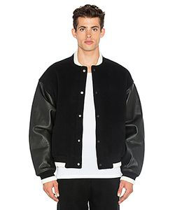 T By Alexander Wang | Varsity Jacket With Leather Combo