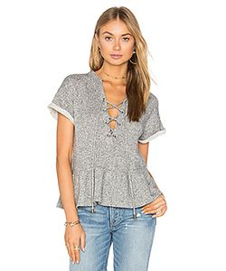 maven west | Lace Up Peplum Sweatshirt