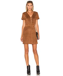 Lucy Paris | Jaida Faux Suede Lace Up Dress