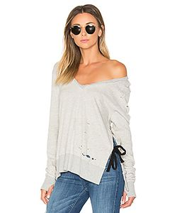PAM & GELA | V-Neck Side Slit Sweatshirt