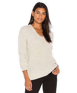 White + Warren | Пуловер Из Плюша В Рубчик С V-Образным Вырезом