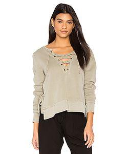 PAM & GELA | Side Slit Lace Up Sweatshirt