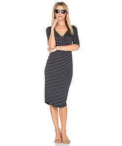 Monrow | Stripe Lace Up Dress