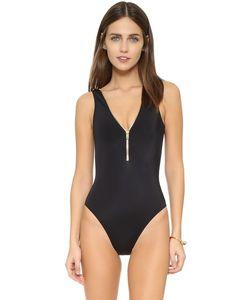 OYE Swimwear | Сплошной Купальник Lea Отделанный Молнией С V-Образным Вырезом