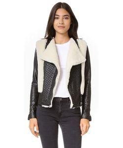 NOUR HAMMOUR | Байкерская Куртка Monica Из Короткой Шерсти
