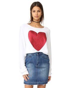 Wildfox   Широкий Пляжный Пуловер Sparkle Heart