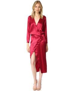 Michelle Mason | Вечернее Платье С Запахом И Длинными Рукавами