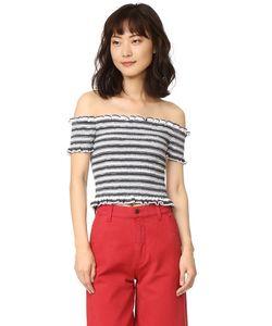 Shakuhachi | Stripe Smocked Crop Top