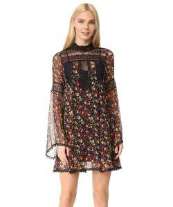 Anna Sui | Платье Из Жатого Шифона С Фиолетовым Принтом