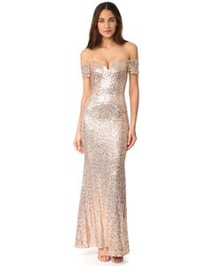 Badgley Mischka | Вечернее Платье С Открытыми Плечами И Блестками