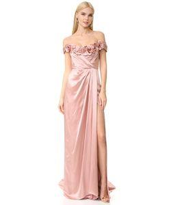 Marchesa | Атласное Вечернее Платье