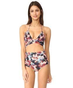 Tori Praver Swimwear | Топ С Запахом Цветочным Рисунком Мира Милош