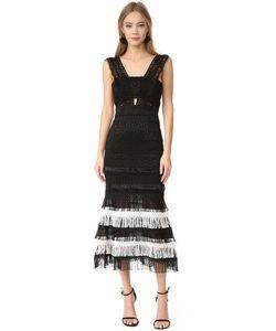 Jonathan Simkhai   Вечернее Платье Шелка С Бахромой С Вырезами В Стиле Бандо