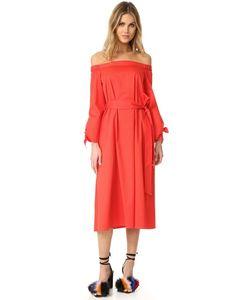 Tibi | Midi Off Shoulder Poplin Dress