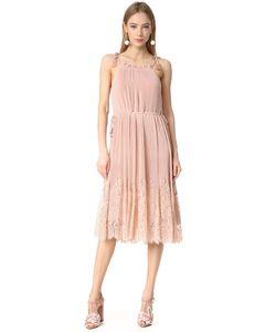 Whistles   Плиссированное Комбинированное Платье Lillan С Кружевной Отделкой