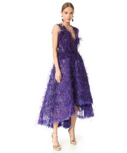 Marchesa | Вечернее Платье С Перьями