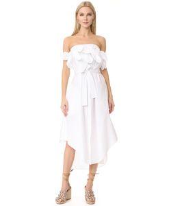 MSGM | Платье Из Ткани В Рубчик Без Бретелек С Оборками