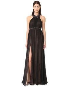 Marchesa Notte | Вечернее Платье Из Шифона С Американской Проймой