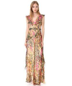 Badgley Mischka | Вечернее Платье С V-Образным Вырезом Принтом И Оборками
