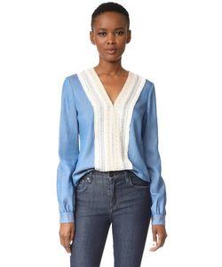 Jonathan Simkhai | Блуза Из Струящейся Ткани Шамбре С V-Образным Вырезом