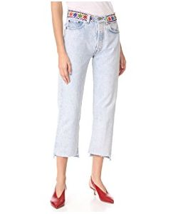 ONE by | Denim Jeans With Beaded Belt