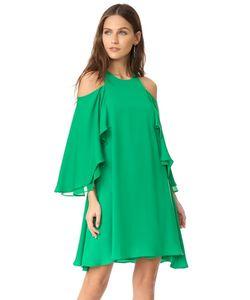 Halston Heritage | Платье С Оборками И Открытыми Плечами