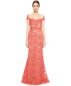 Reem Acra   Кружевное Вечернее Платье С Вышивкой