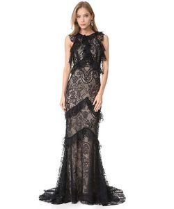 Monique Lhuillier | Вечернее Платье Без Рукавов С Оборками